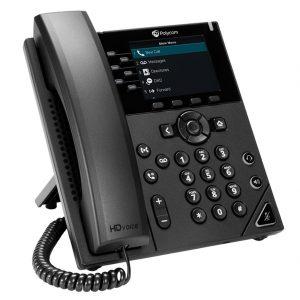 Polycom VVX 350 is a six-line, mid-range IP desk phone