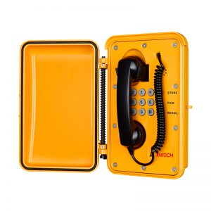 weatherproof vandal proof telephone with door enclosure