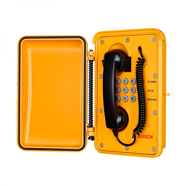 weatherproof vandal proof telephone with door enclosure