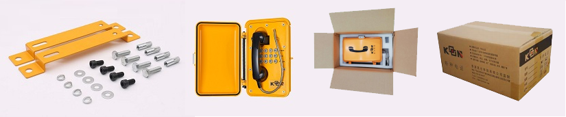 Contents supplied with the weatherproof telephone and packaging