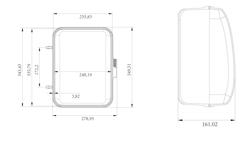 standard dimensions of atex telephone with door